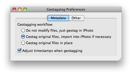 Geotagalog 2.0 workflow preferences window
