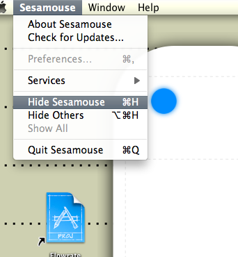 Screenshot of Sesamouse menu's Hide (Cmd-H) item