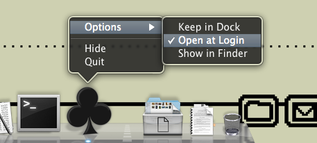 Shows the Options > Open at Login option checked in Sesamouse's Dock menu