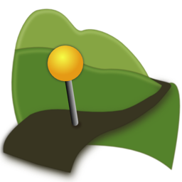 Geotagalog icon, a pin in a trail beneath rolling hills.